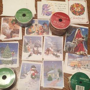 Other - NWT 18-piece BOGO holiday cards/envelopes & ribbon